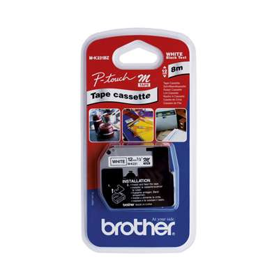BROTHER P-TOUCH Labelling Tape 12mm MK231BZ PT55 Black/White