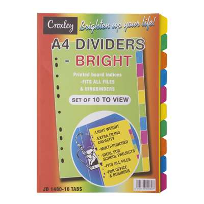 Croxley Index Divider, A4, 10 Part, Bright Board