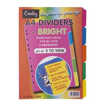 Croxley Index Divider, A4, 5 Part, Bright Board