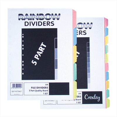 Index A4, 5 Part, Multi-punched, Rainbow Pastel Coloured Board