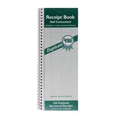 RBE Receipt Book NCR 5 to view 240 num 100x300mm Dup FO201